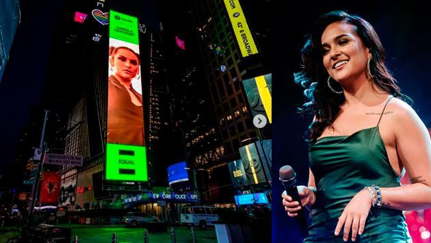 Daniela Darcourt emocionada por figurar en Times Square