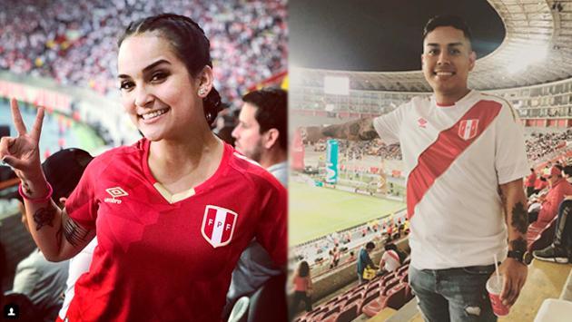 Daniela Darcourt y César Vega alentaron a la Selección Peruana ante Ecuador