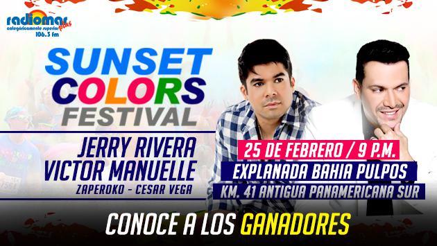 Ellos ganaron entradas dobles, gracias a Radiomar, para el 'Sunset Color Festival' con Jerry Rivera y Víctor Manuelle