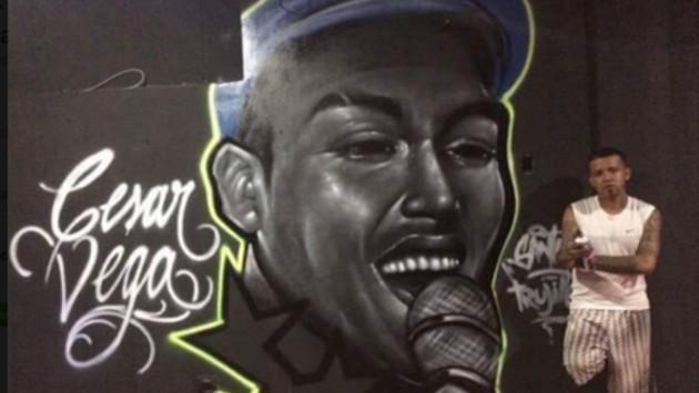 ¡Mira el mural que le hicieron a César Vega en Trujillo! Aquí los detalles