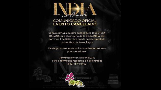 Se canceló el concierto de La India en Discoteca Banana